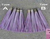 Light Violet Leather (Cowhide) TASSEL in 12mm Dome-shaped Cap (Type A) or Lined Cap (Type B)- Pick your tassel cap