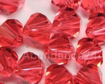 24 pcs Swarovski Element 5301 5328 6mm Bicone Xilion Crystal Beads Padparadscha (N)