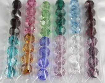 48 pieces Genuine Swarovski 5000 8mm Round Crystal Beads MIX BIRTHSTONE SET - Fee Shipping