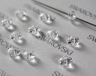 6 pieces Swarovski Elements 5040 6mm RONDELLE Spacer Beads - Crystal Clear