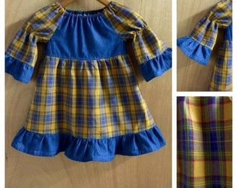 Plaid and Denim Peasant Dress, size 2t