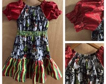 Christmas Dress, Peasant Style, girls size 5