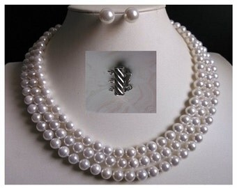 shell PEARL SET- 17-19inch 3 rows 8mm white shell pearl necklace and earrings set