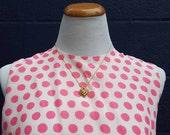 Vintage 1960's Pink Polka Dot Shift Dress