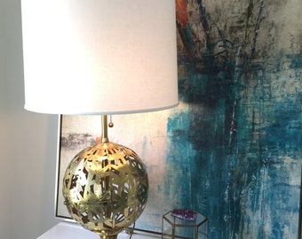 Brass Lamp - Marbro - Solid Brass Bamboo Globe