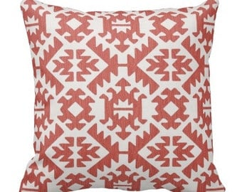 Decorative pillows for couch,Euro Shams,ikat pillow,ikat pillow covers, Coral ikat accent pillows,Coral Euro Shams