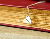 Tiny Paper Airplane Necklace in Sterling Silver