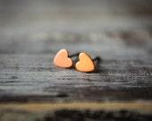 Itty Bittiest Heart Earring Studs in Raw Copper, Stainless Steel Posts