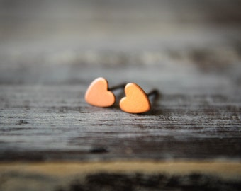 Itty Bittiest Heart Earring Studs in Raw Copper, Stainless Steel Posts