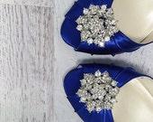 Blue Wedding Shoes / Custom Wedding / Design My Shoes  / Crystal Brooch Toe / Shoes Low Heel /  Peeptoe / Bride on Budget Wedding Shoes