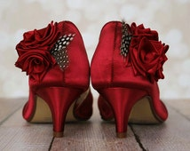 Wedding Shoes -- Rouge Peeptoes with Red Roses on Heel and Toe with Polka Dot Feather Accents