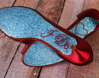 Red Wedding Shoes, Wedding Shoes, Bridal Shoes, Red Wedding, Something Blue, Something Blue Shoes, Peep Toes, Kitten Heels, Glitter Wedding