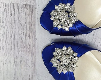 Wedding Shoes, Blue Wedding Shoes, Design My Own Wedding Shoes, Custom Wedding, Something Blue, Blue Bridal Shoes, Peep Toes, Kitten Heels