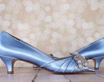 Custom Wedding Shoes Pink Blush Wedge Peep Toe Wedding