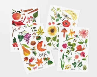 SEASONS postcards - set of 4