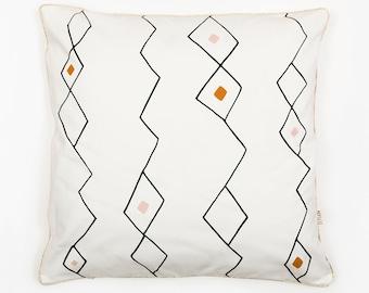 Cushion Cover, organic cotton pillow case, decorative cushion, blush pink, berber inspiration, Geometric Cushion, home decor, Depeapa
