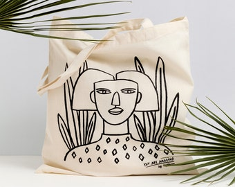 Girls just wanna have fun REF.1 - illustrated and screen printed tote bag