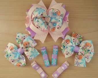 Back to School Kids Characters Frozen Inspired Sisters Hair Bows for Girls