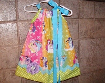 Girls Pillowcase Dress Custom..Rainbow My Little Pony Inspired...sizes 0-6, 6-12, 12-18, 18-24 months, 2T, 3T..Bigger sizes AVAILABLE
