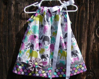 Baby Elephants...Girls Pillowcase Dress Infant toddler sizes 0-6, 6-12, 12-18, 18-24 months, 2T, 3T..Bigger sizes AVAILABLE