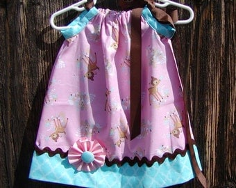 Bambi Inspired...Girls Pillowcase Dress Infant toddler sizes 0-6, 6-12, 12-18, 18-24 months, 2T, 3T..Bigger sizes AVAILABLE