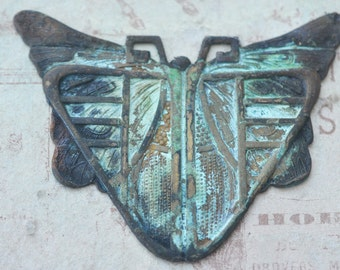 Art Deco Mothra Centerpiece, Honey Cyan Patina