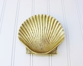 Brass sea shell dish, brass shell dish, solid brass home decor, brass sea shell, bowl, paperweight