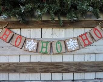 Ho Ho Ho Banner, Christmas Party Decor, Christmas Banner, Christmas Decor Garland, Snowflakes Banner, Santa Decor, Christmas Photo Prop