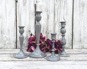 Shabby Chic Gray Painted Brass Candlesticks, GrayTable Centerpiece, Gray Wedding Decor,  Gray Candle Holders