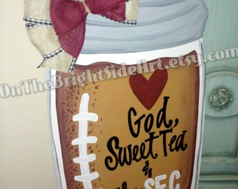 Southern Football SEC Mason Jar Door Hanger