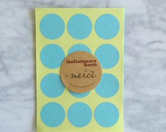 Pastel Blue Paper Seal Stickers - 3cm round Label Sticker Seals - 72 Blank Seals
