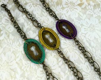 The Secret Key Bracelet   Keyhole Bracelet   Patina Bracelet  Layering Bracelet    Bohemian  Bracelet   item 353