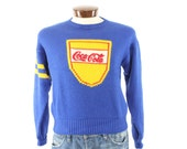 Vintage 80s Coca Cola Sweater Blue Wool Pullover Sweater Coke Advertising Advertisement 1980s Mens Winter Fashion Preppy Sweater Small S