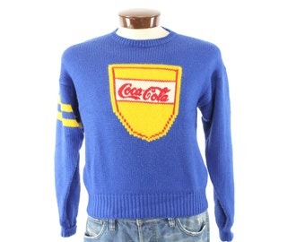 Vintage 80s Coca Cola Sweater Blue Wool Pullover Coke Advertising Advertisement 1980s Mens Winter Preppy Small S