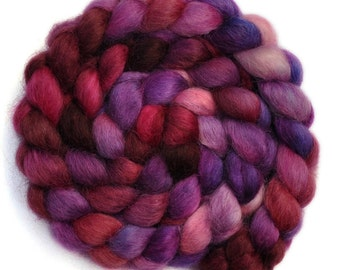 Hand painted spinning fiber - Wensleydale wool combed top roving - 4.1 ounces - Braveheart
