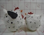 Chicken Folk Art Figurines OOAK Itty Bitty Chickens Paper Mache Set of 2 Art Sculptures White & Black Handmade Country Decor Cottage Rustic