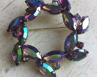 Aurora borealis crystal brooch