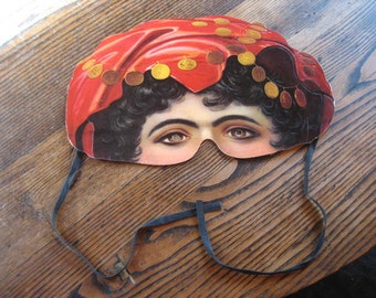 Victorian Style Belly Dancer Gypsy Half Mask Embossed Card Stock H&P Decorations England