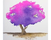"""Signed Archival Watercolor Reproduction Print """"Purple Tree"""" 8.5x11 inches"""