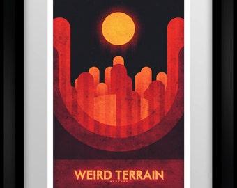 Space Travel Poster - Mercury - Weird Terrain