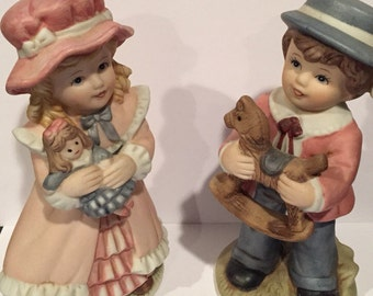 Victorian Boy & Girl Figurines Homco Home Interiors Number 1419 6 inches tall