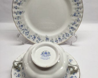 Royal Albert Memory Lane Bone China Cream Soup Bowl Saucer and Salad Plate
