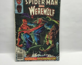 Comic Book Spiderman and Werewolf  1980  Marvel team up McFarlane Boarded