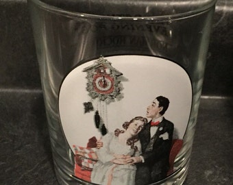 Norman Rockwell Bar Glass Saturday Evening Post Courting at Midnight March 22, 1919