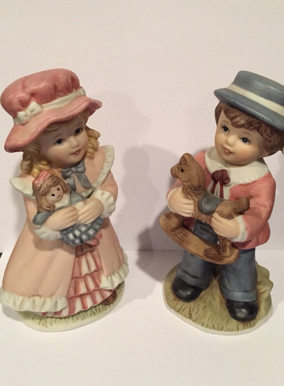 Victorian boy girl figurines homco home interiors number Home interiors figurines homco