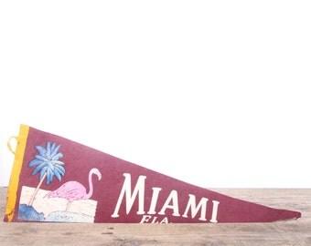 1950s Miami Florida Pennant / Vintage Felt Pennant / Pink Flamingo Pennant Banner / Pennant Flag / Marroon Pennant / Wall Pennant Decor