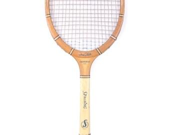 Vintage Wooden Tennis Racket / Spalding Tru Flite Tournament Model  / Wood Tennis Racket / Antique Tennis Racket / Sports Decor