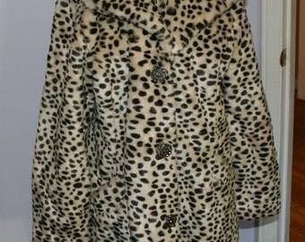 Vintage Coat Faux Fur Leopard