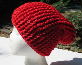 """Crocheted Slouchy Ribbed Hat - Unisex - Scarlet Red - Beanie 18"""" - 22"""""""