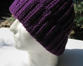 X Large Crochet Hat - Eggplant Purple - Unisex - Beanie - Toque - Watch Cap - Large Hat